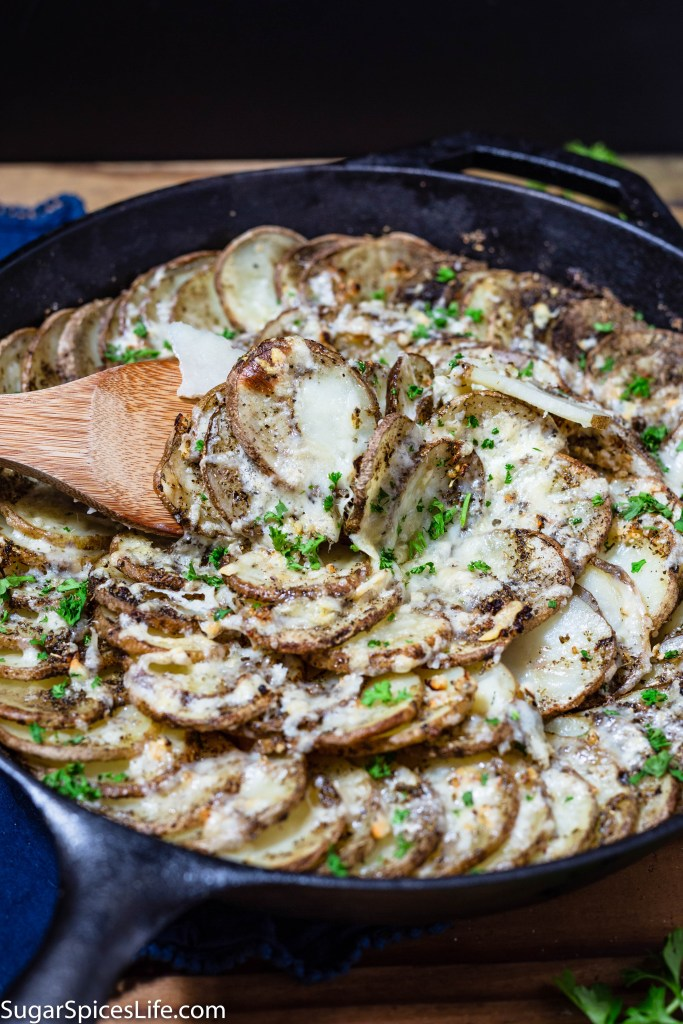 Asiago PDO Skillet Potatoes. Deliciously seasoned potato slices baked in a skillet, and topped with aged Asiago PDO cheese. Quick, easy, and amazingly tasty!