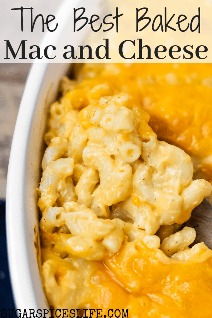 This Baked Macaroni and Cheese is the perfect side dish, but is so delicious that it can stand on its own! Easy to make and full of cheesy, creamy noodles!