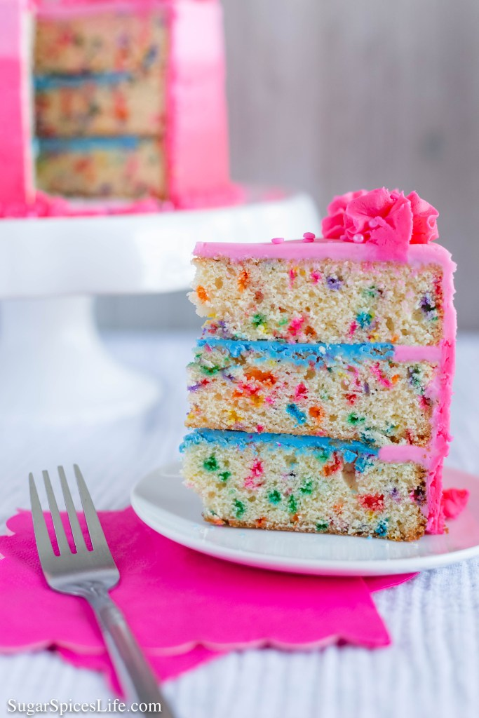 This Homemade Funfetti Cake has soft, sprinkle filled cake layers that are finished with a delicious, sweet buttercream frosting. This cake is the perfect birthday or celebration cake!