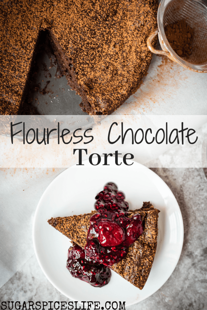 A decadent, creamy, chocolate torte topped with a berry sauce. This Flourless Chocolate Torte will be sure to impress!