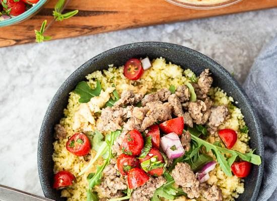 Mediterranean Chicken and Hummus Bowls