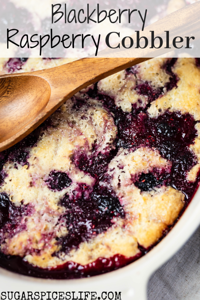 Blackberries and raspberries sweetened with a bit of sugar, then baked with a delicious, biscuit-like crust. This Blackberry Raspberry Cobbler is a quick and easy dessert that is sure to impress!