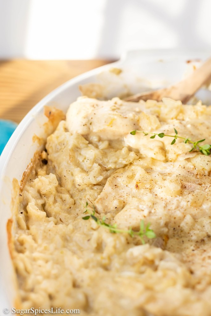 Chicken nestled in rice with a homemade, lemon thyme sauce. This Lemon Thyme Chicken Casserole is a unique, delicious twist on chicken and rice casserole.