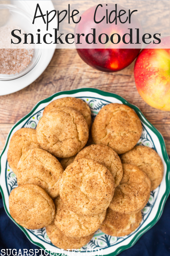 Soft, chewy snickerdoodle cookies made with reduce apple cider to give all the fall feels. These Apple Cider Snickerdoodles are a perfect fall treat!