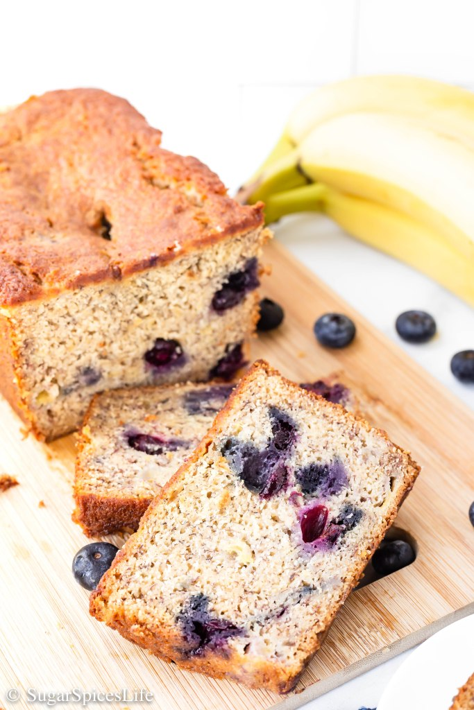 Browned butter banana bread filled with fresh blueberries and a hint of lemon. This Blueberry Banana Bread is a delicious breakfast or snack!