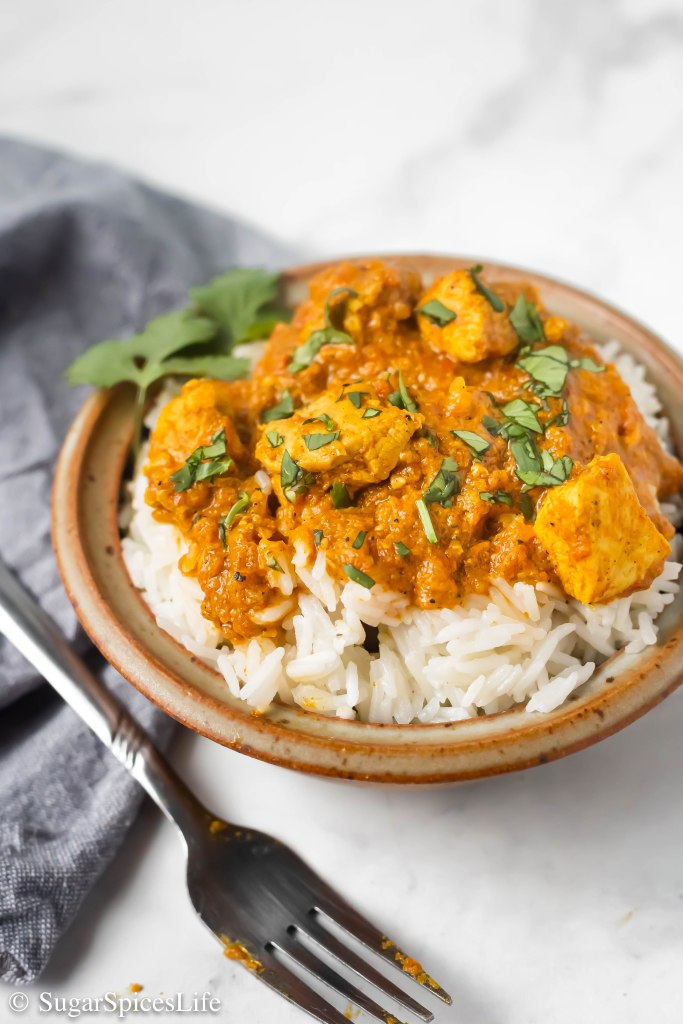 Warm, buttery, flavorful chicken served over basmati rice. This Butter Chicken will become a quick favorite for your family!