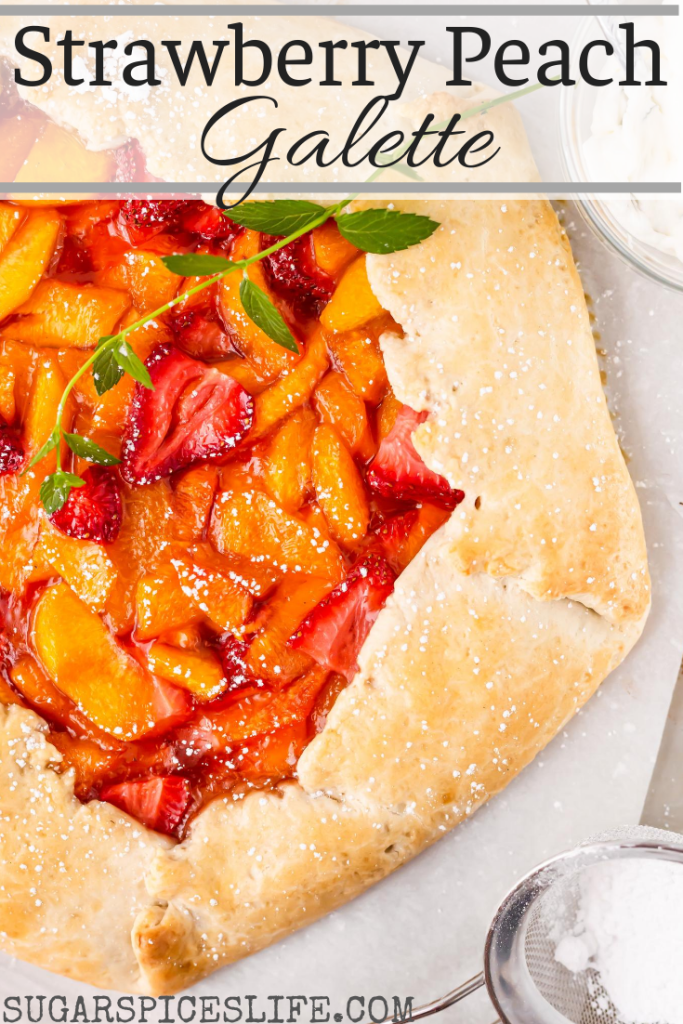 Peaches simmered with sugar, mixed with strawberries, and baked in a buttery pastry crust. Finished with a fresh mint cream, this Strawberry Peach Galette is a perfect summer treat.