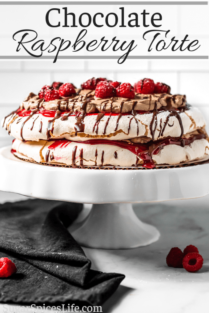 Crunchy meringue layers filled with raspberry sauce and chocolate whipped cream. This Chocolate Raspberry Torte is an elegant, delicious dessert!