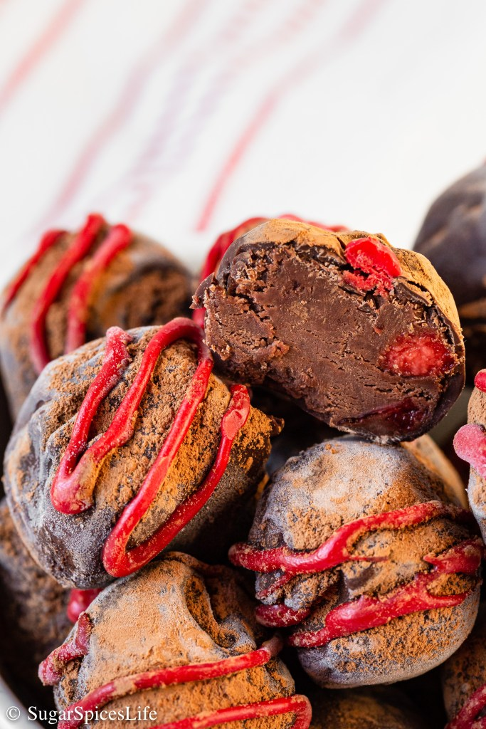 Smooth, creamy chocolate with bits of cherries inside a dark chocolate shell. These Chocolate Cherry Truffles are a rich, decadent treat.