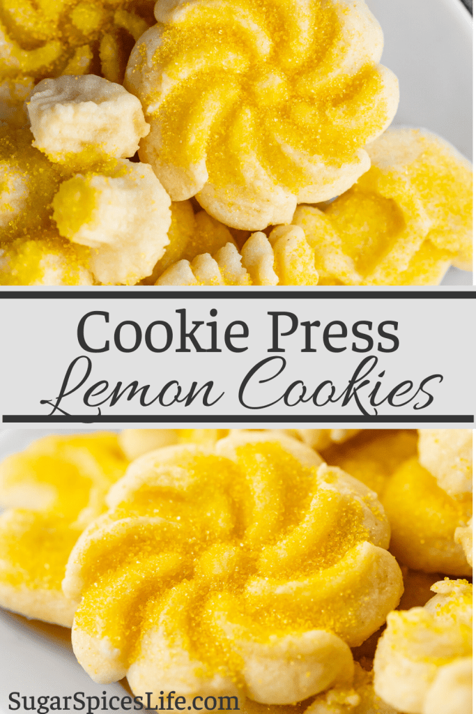 Cream cheese cookie press cookies with a lemony zest! These Cookie Press Lemon Cookies can be made into festive shapes for any time of the year!