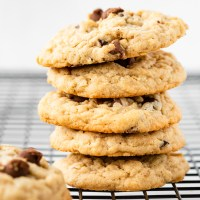 Chewy peanut butter oatmeal cookies with lots of chocolate chips. These Oatmeal Peanut Butter Chocolate Chip Cookies are dessert perfection!
