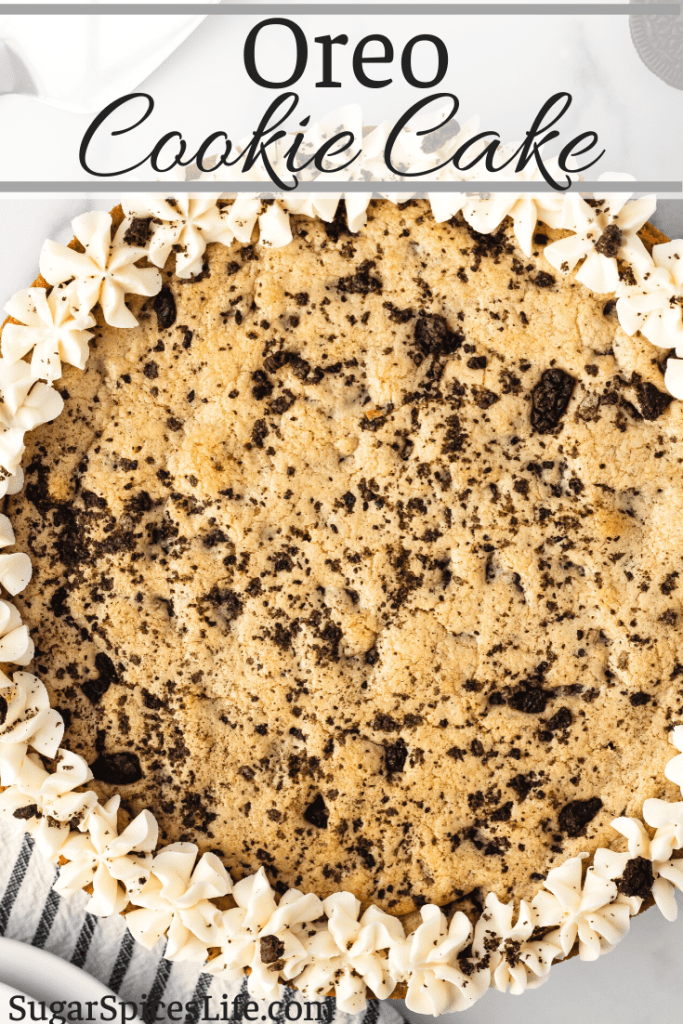A large, soft cookie filled with chocolate chips and bits of Oreos cookies, finished with a buttercream frosting. This Oreo Cookie Cake is an easy dessert hit!