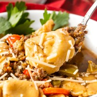 Vegetables, sausage and cheese tortellini in a flavorful broth. This Sausage Tortellini Soup will warm your soul!