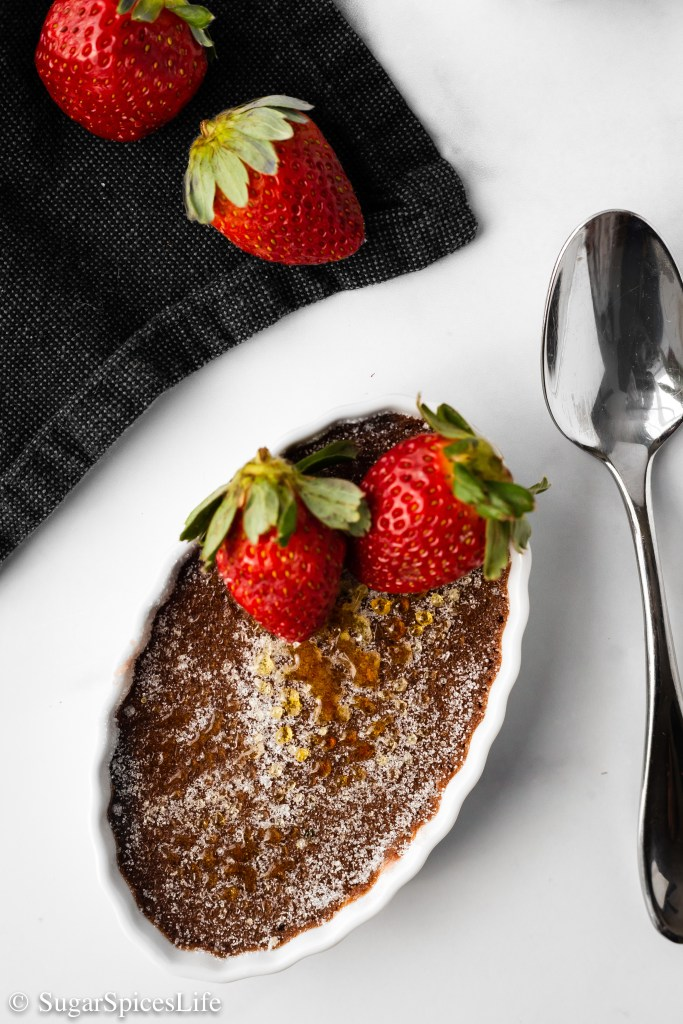 Strawberry preserves topped with a rich, chocolate custard and finished with a crispy, burnt sugar top. This Chocolate Strawberry Creme Brûlée is a beautiful, decadent dessert!