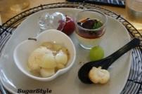 栗の温かいプリン・シナモンアイスとりんごのバニラコンポート