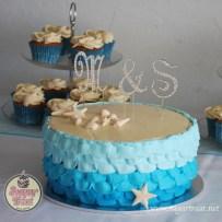 Beach theme cake and cupcakes