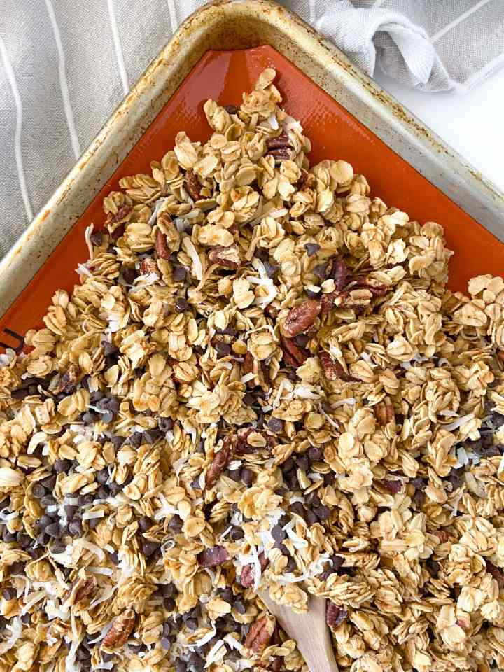 a tray of coconut chocolate chip granola