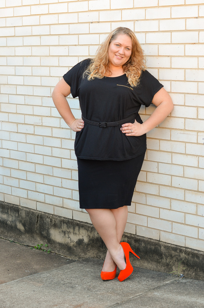 plus size monochrome outfit with heels-6
