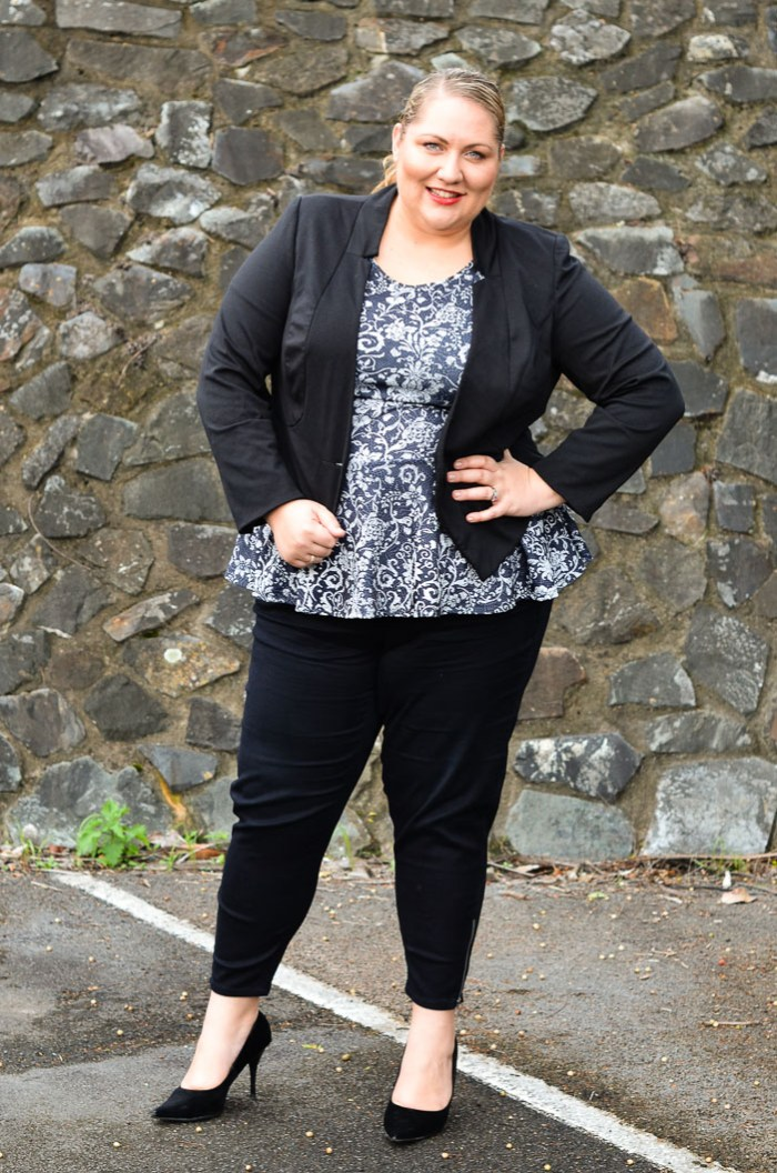 plus size slim pants with peplum top and jacket-2