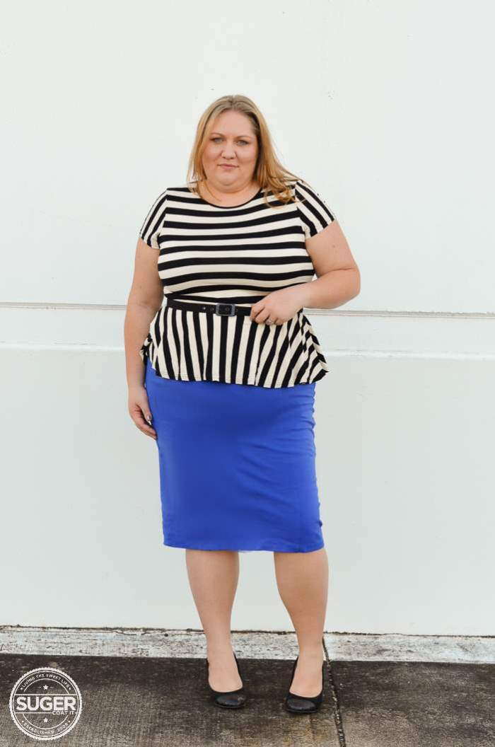 ASOS stripe peplum virtu pencil skirt plus size-4