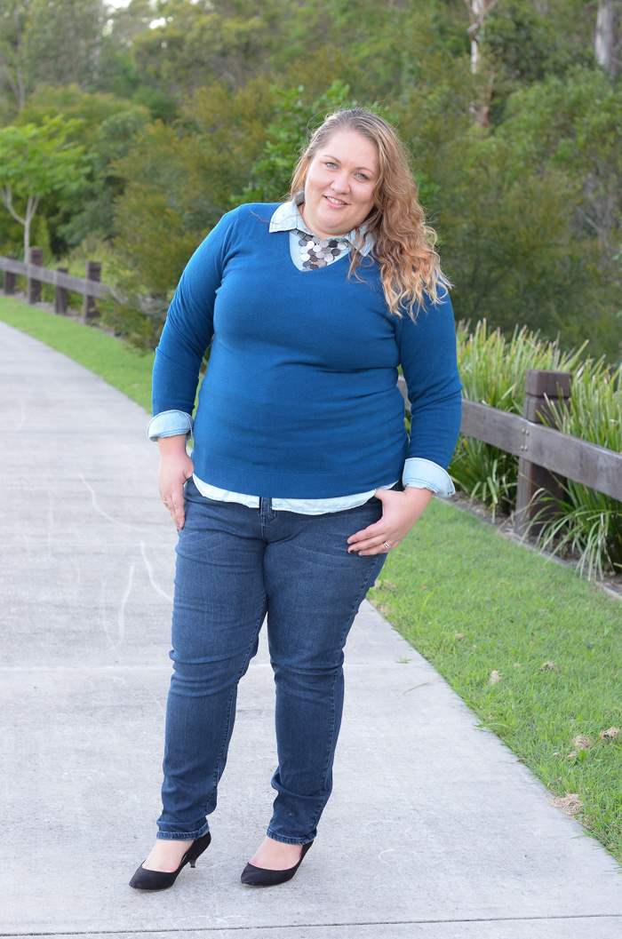 plus size jeans chambray layers outfit-2