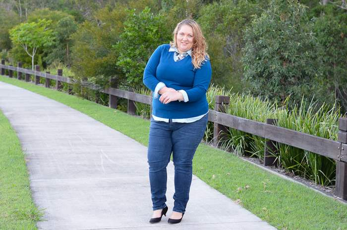 plus size jeans chambray layers outfit-4