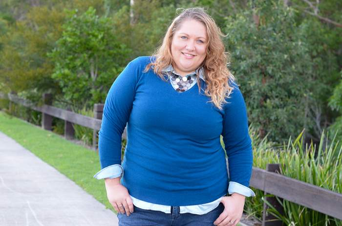 plus size jeans chambray layers outfit-5