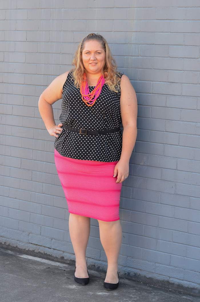 plus size spots and stripes colourful outfit-2