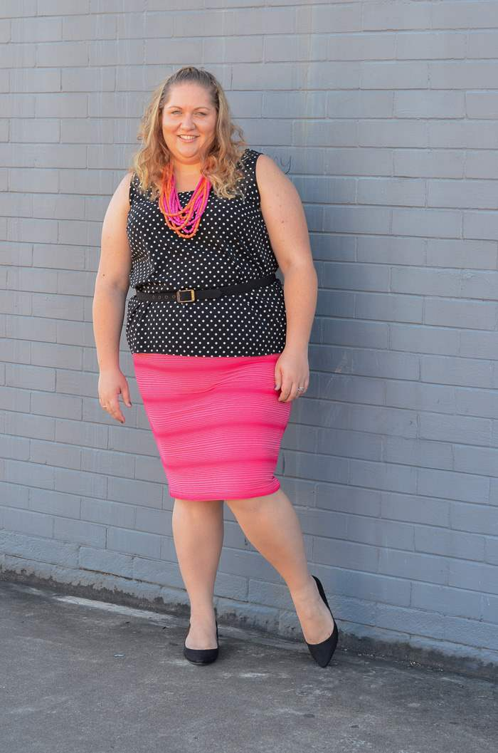 plus size spots and stripes colourful outfit-4