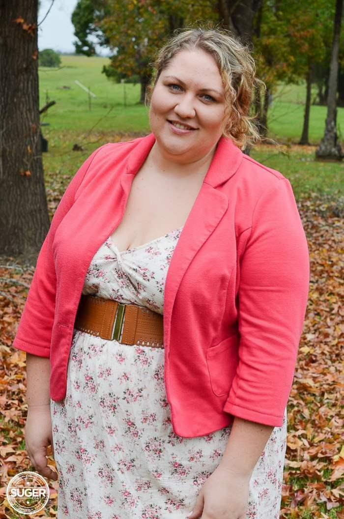 floral dress blazer outfit plus size-7