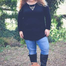 plus size knit dress jeans and boots-8