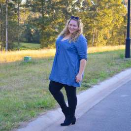chambray shirt dress with boots plus size-5