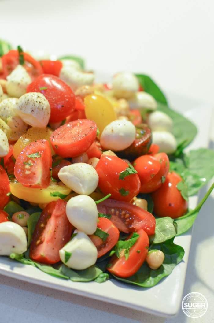tomato, chickpea, bocconcini, spinach salad caprese inspired-3