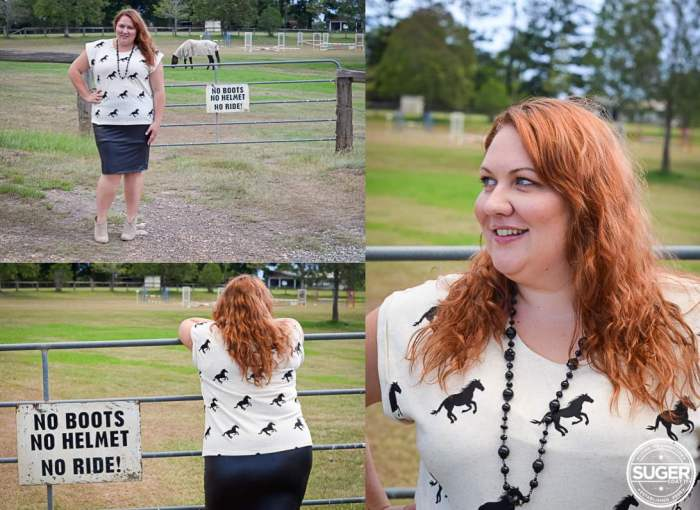 plus size casual outfit horse print 001