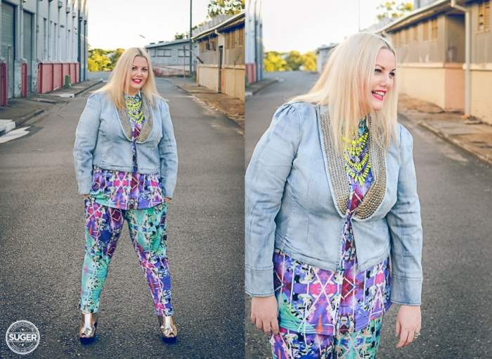 plus size fashion cut for evans print pants print shirt-001