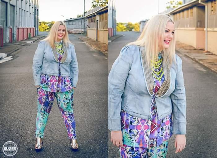 plus size fashion cut for evans print pants print shirt-001