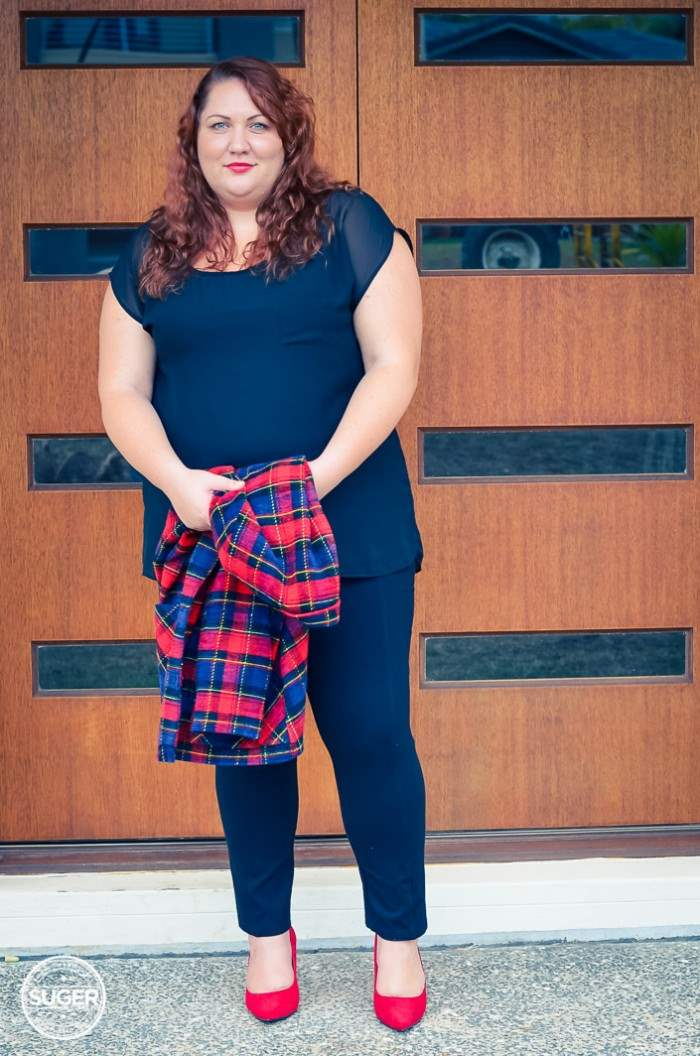 plus size plaid jacket outfit with red heels-10