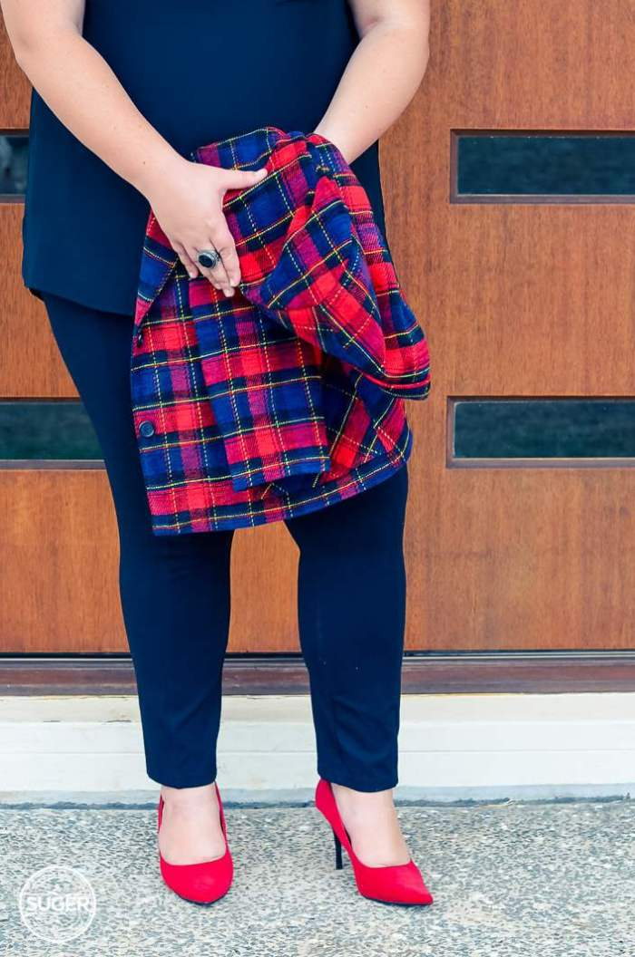 plus size plaid jacket outfit with red heels-9