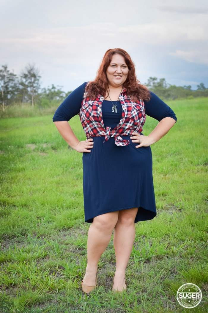 plus size navy dress + red plaid outfit-2-2