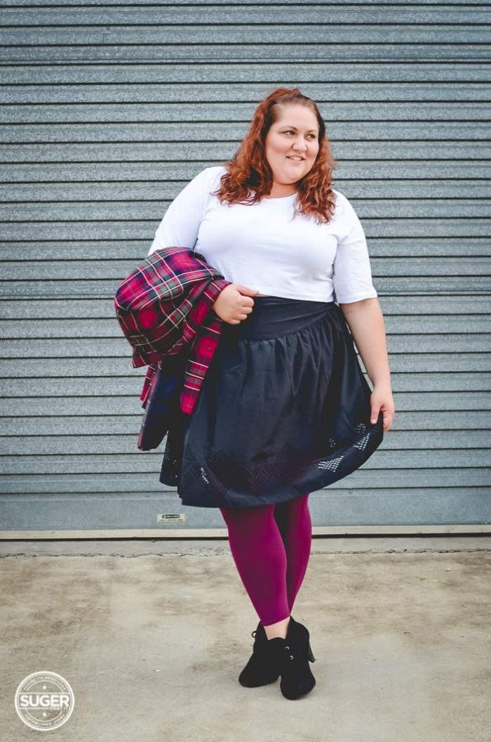 plus size outfit plaid jacket crop top + ful skirt-8