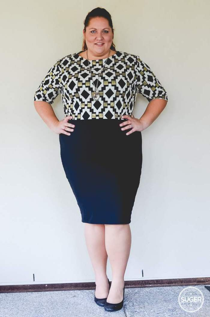 plus size work outfit geo print-1