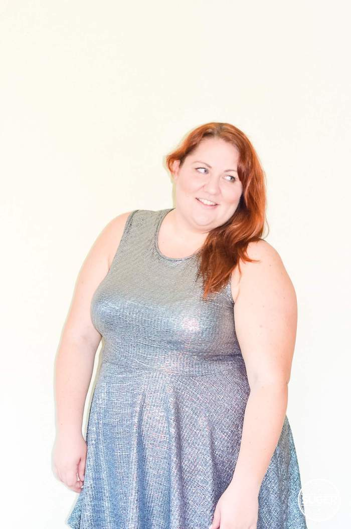 silver skater dress plus size outfit-9