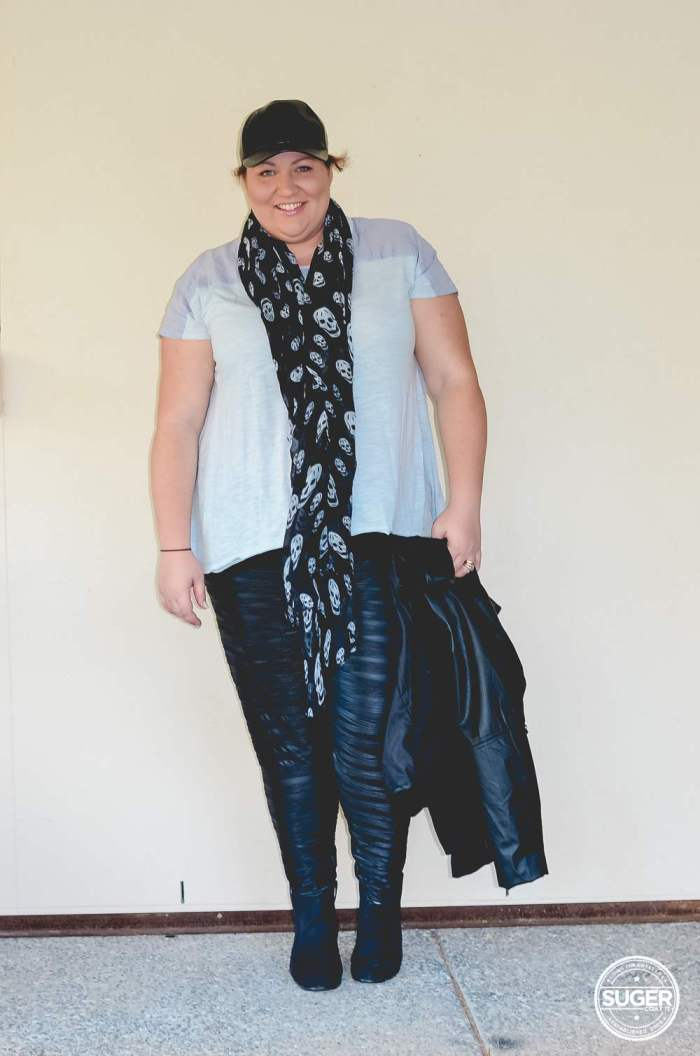plus size casual leather outfit for winter-4