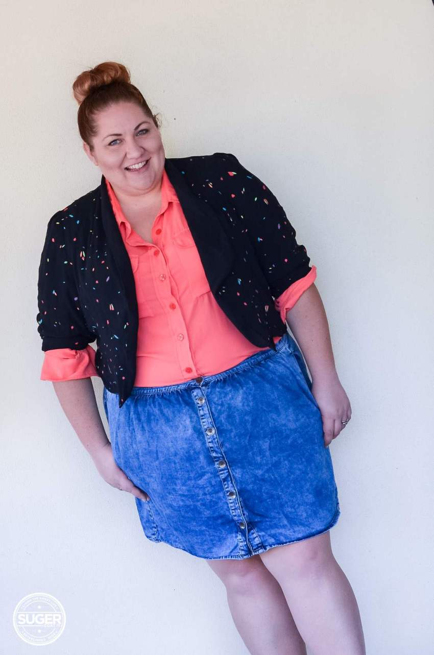 17 sundays jacket blouse + asos curve denim skirt-14