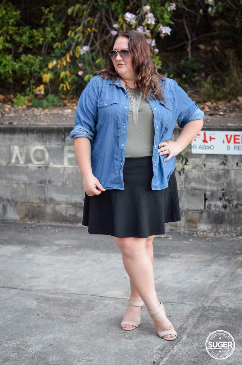 casual chambray + skater skirt outfit 17 sundays-3