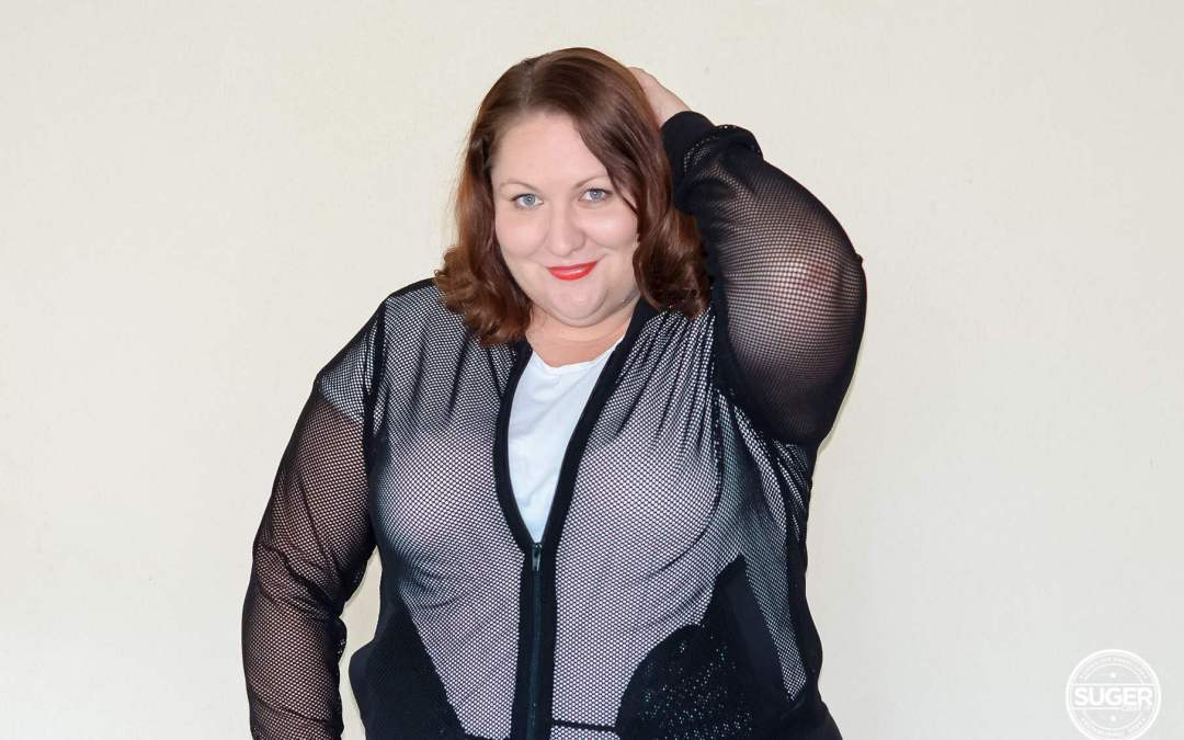 plus size monochrome sports luxe outfit + mesh bomber jacket