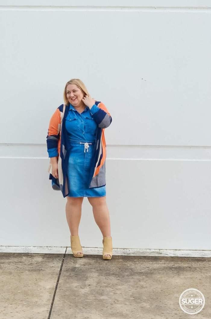 plus size double denim outfit ankle boots knit jacket-10
