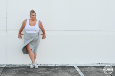 plus size blogger asos curve drape skirt tank top sneakers casual outfit-6