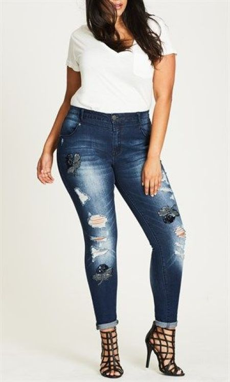 City Chic Embellished Denim Jean