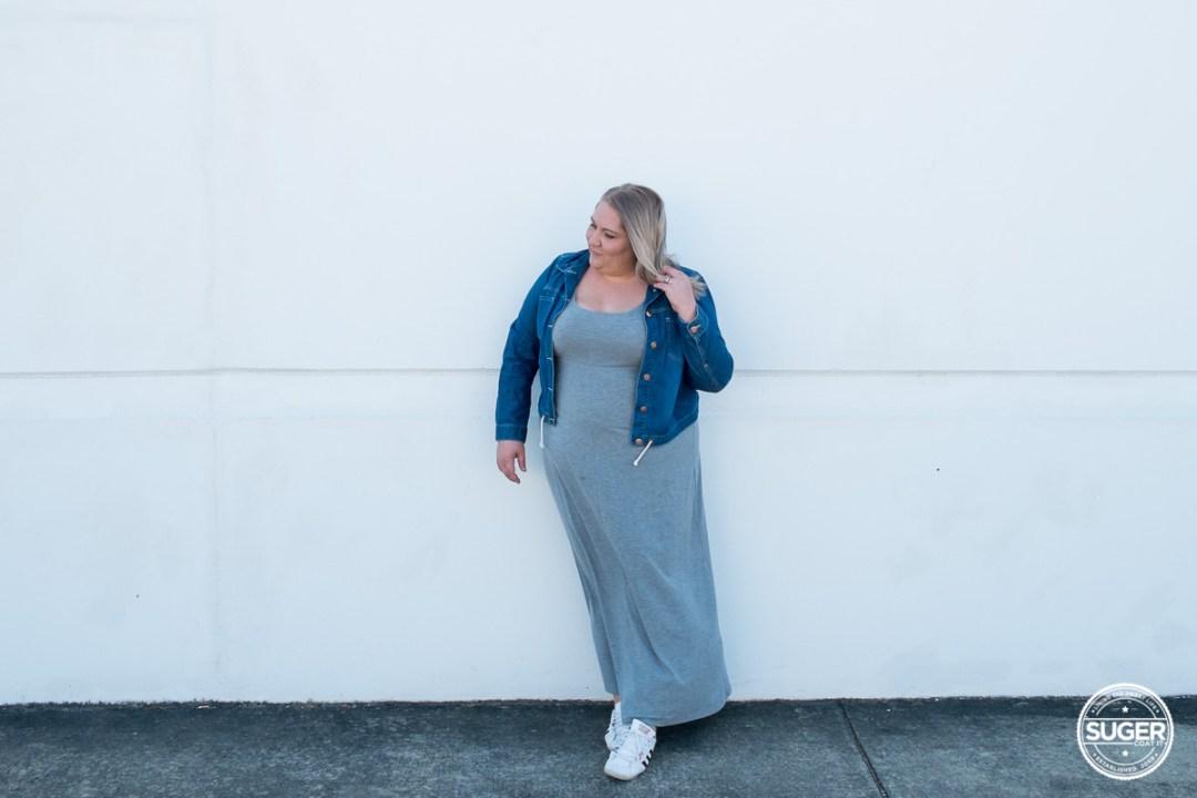 plus size blogger asos curve grey maxi dress-7